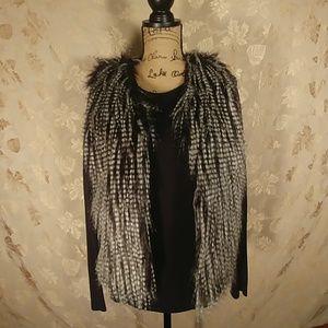 Jackets & Blazers - Black & White Faux Fur Vest.